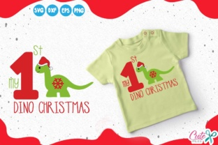 My 1st Christmas, Dinosaur with Santa Hat Grafik von Cute files