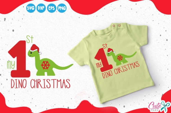 My 1st Christmas, Dinosaur with Santa Hat Graphic Illustrations By Cute files