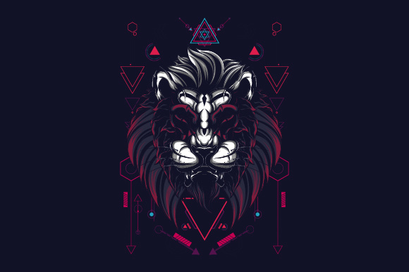 Download Free The Lion Sacred Geometry Style Graphic By Syndicate Std for Cricut Explore, Silhouette and other cutting machines.