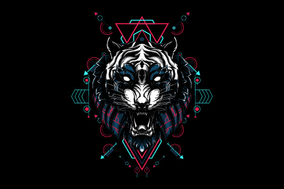 Mythical Tiger Sacred Geometry Graphic Illustrations By syndicate.std