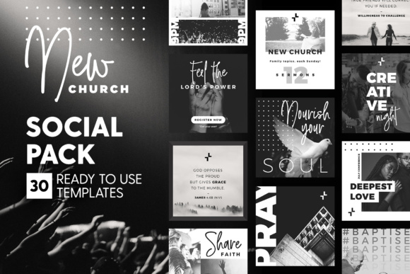 Print on Demand: New Church - Social Pack Graphic Web Templates By lavie1blonde