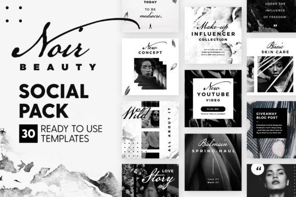 Noir Beauty - Social Pack Graphic Web Elements By lavie1blonde