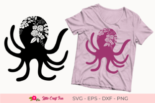 Download Free Octopus With Flowers Silhouette Svg Graphic By Little Craft Fun for Cricut Explore, Silhouette and other cutting machines.