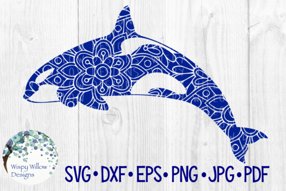 Orca Mandala, Killer Whale, Floral, Ocean, Sea, Summer, Beach, Cut File Graphic Crafts By WispyWillowDesigns