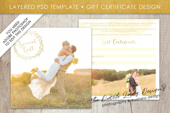 Print on Demand: PSD Photo Gift Card Template #48 Graphic Print Templates By daphnepopuliers