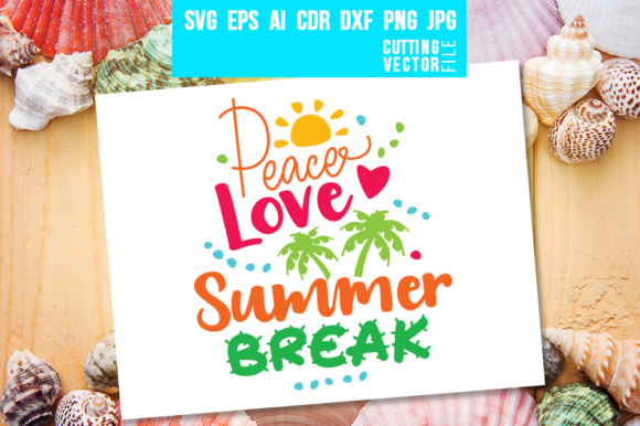 Download Free Peace Love Summer Break Graphic By Danieladoychinovashop for Cricut Explore, Silhouette and other cutting machines.