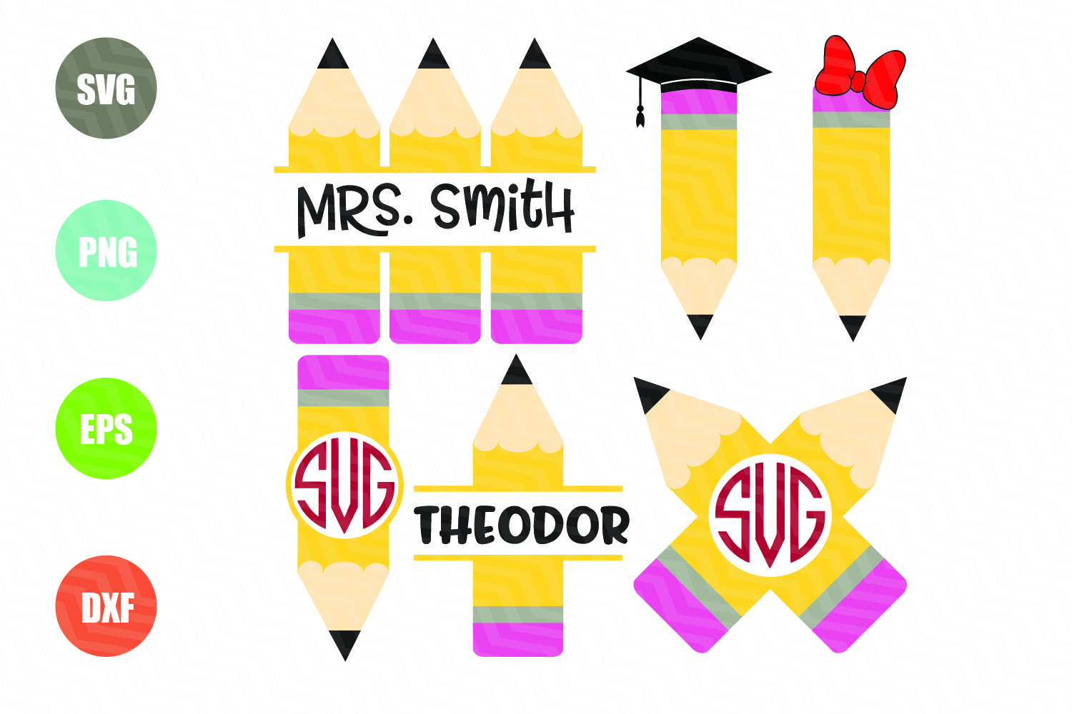 Download Free Pencil Monogram Frame Graphic By Logotrain034 Creative Fabrica for Cricut Explore, Silhouette and other cutting machines.