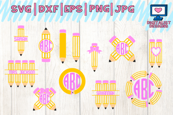 View Pencils Monogram Teacher Name Tag Svg And Dxf Cut File Design