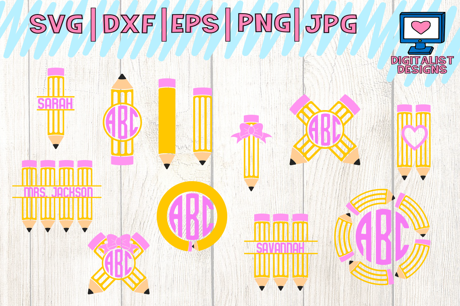 Download Free Pencil Bundle Teacher Back To School School Graphic By for Cricut Explore, Silhouette and other cutting machines.
