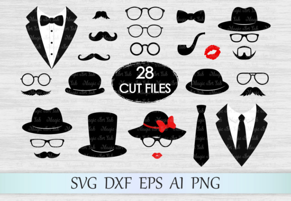 Download Free Photobooth Props Graphic By Magicartlab Creative Fabrica for Cricut Explore, Silhouette and other cutting machines.