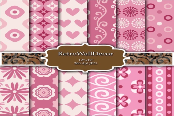 Print on Demand: Pink Shabby Chic Digital Papers Graphic Backgrounds By retrowalldecor