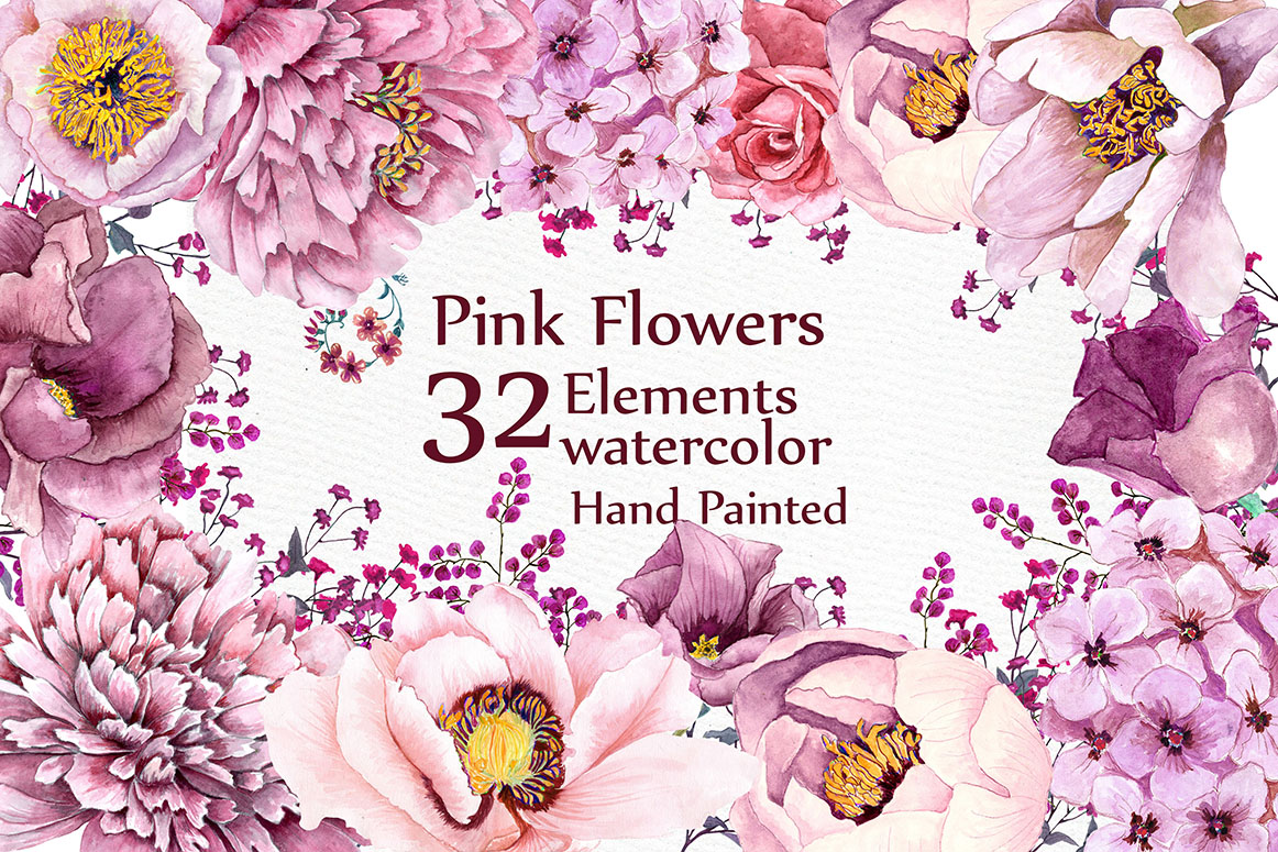 Pink Flowers Clipart Watercolor Clipart Floral Clipart Pink