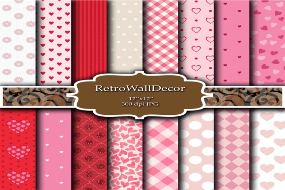 Print on Demand: Pink Hearts Papers Graphic Backgrounds By retrowalldecor