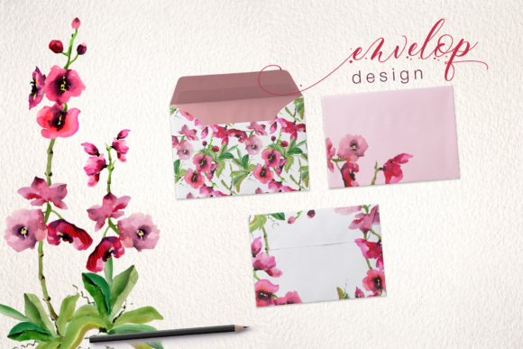 Pink Orchid Flowers PNG Watercolor Set