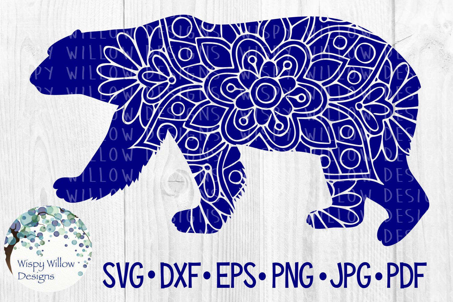 Download Free Polar Bear Floral Mandala Winter Snow Animal Cut File Graphic for Cricut Explore, Silhouette and other cutting machines.