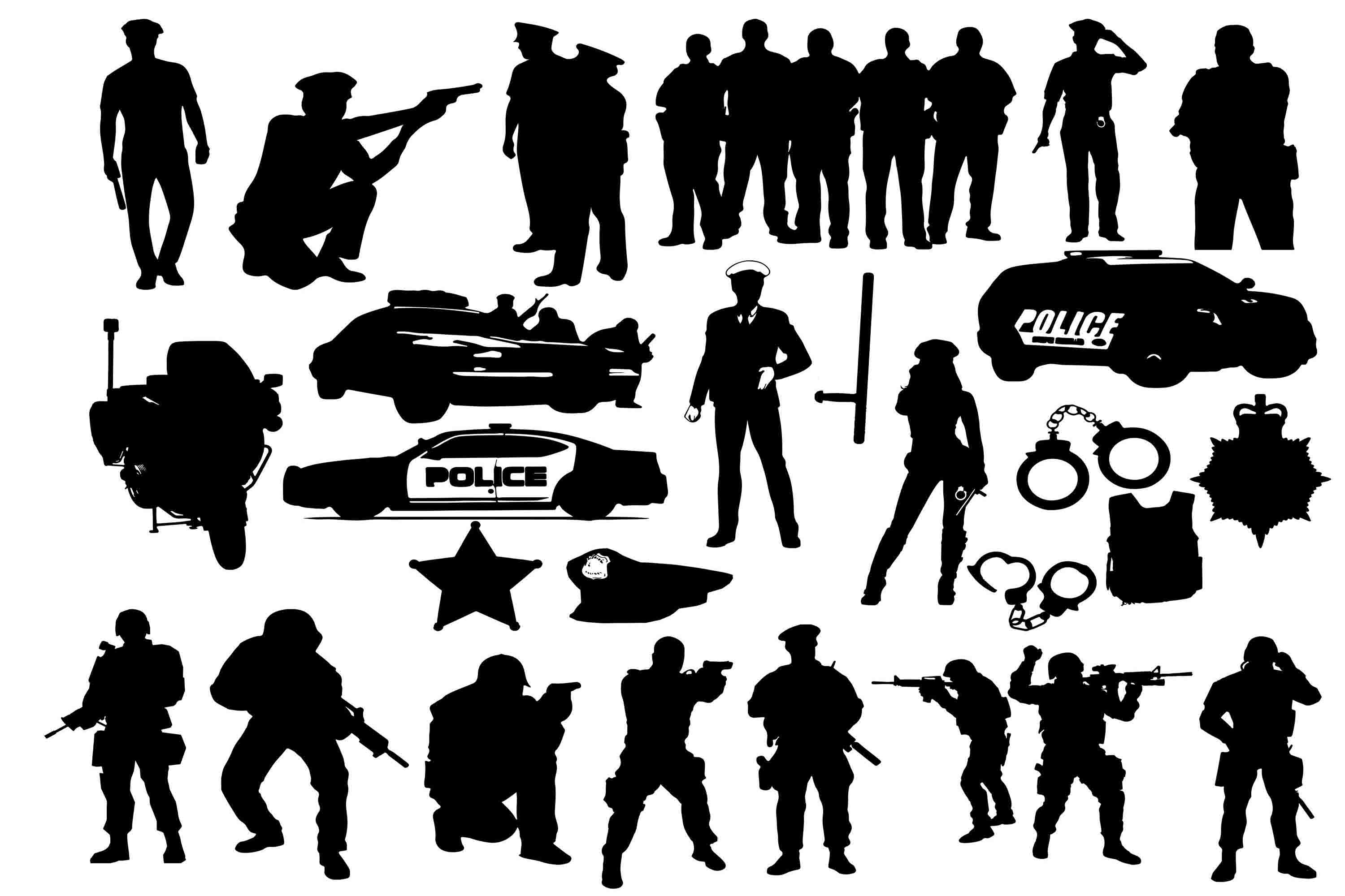 Download Free Police Silhouettes Graphic By Retrowalldecor Creative Fabrica for Cricut Explore, Silhouette and other cutting machines.