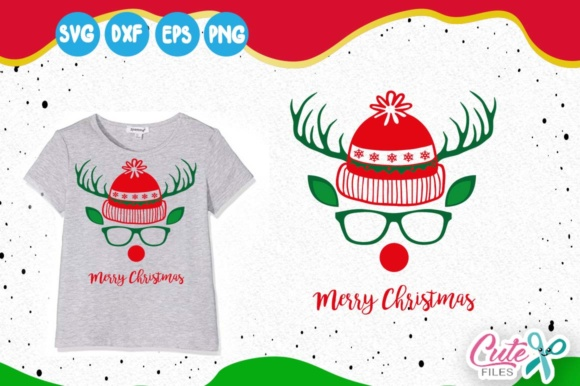 Reinder Face, Santa Hat Svg Graphic Illustrations By Cute files