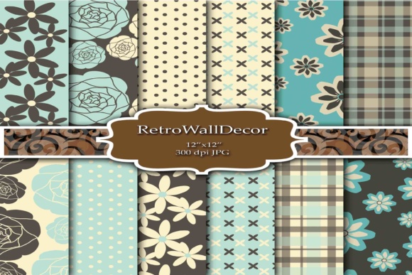 Print on Demand: Retro Digital Paper Mint Green Graphic Backgrounds By retrowalldecor
