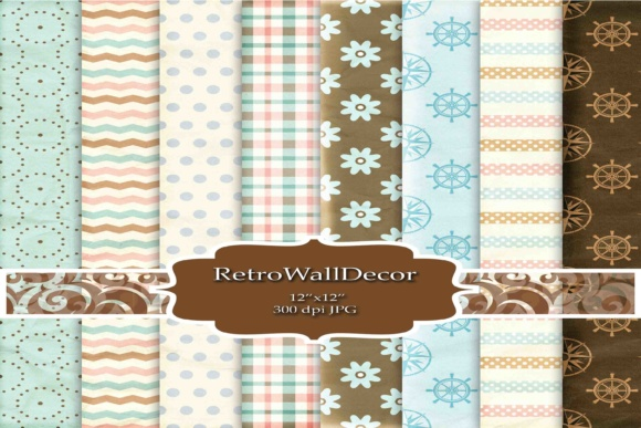 Print on Demand: Retro Digital Paper Graphic Backgrounds By retrowalldecor
