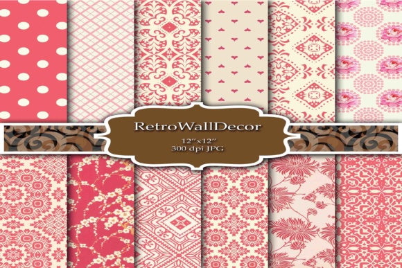 Print on Demand: Retro Digital Papers Floral Graphic Backgrounds By retrowalldecor