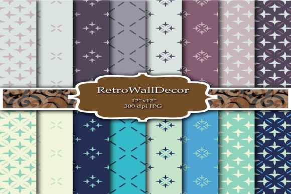 Print on Demand: Retro Digital Papers Desgins Graphic Backgrounds By retrowalldecor