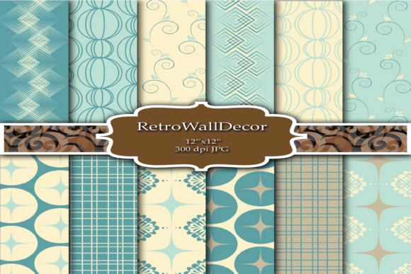 Print on Demand: Retro Digital Papers Pack Graphic Backgrounds By retrowalldecor