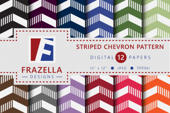 Retro Striped Chevron Digital Paper Collection Graphic By