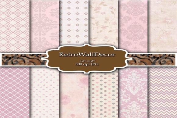 Print on Demand: Retro Digital Papers Graphic Backgrounds By retrowalldecor