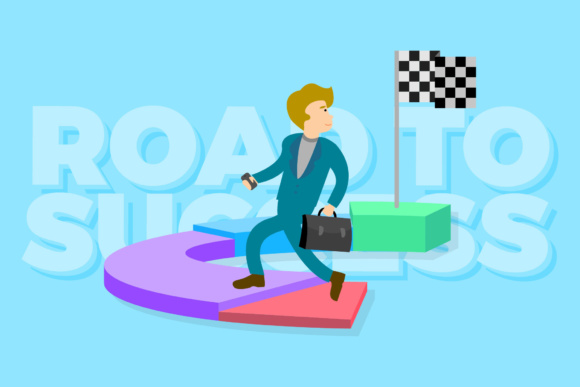 Road to Success Illustration Graphic By KitCreativeStudio