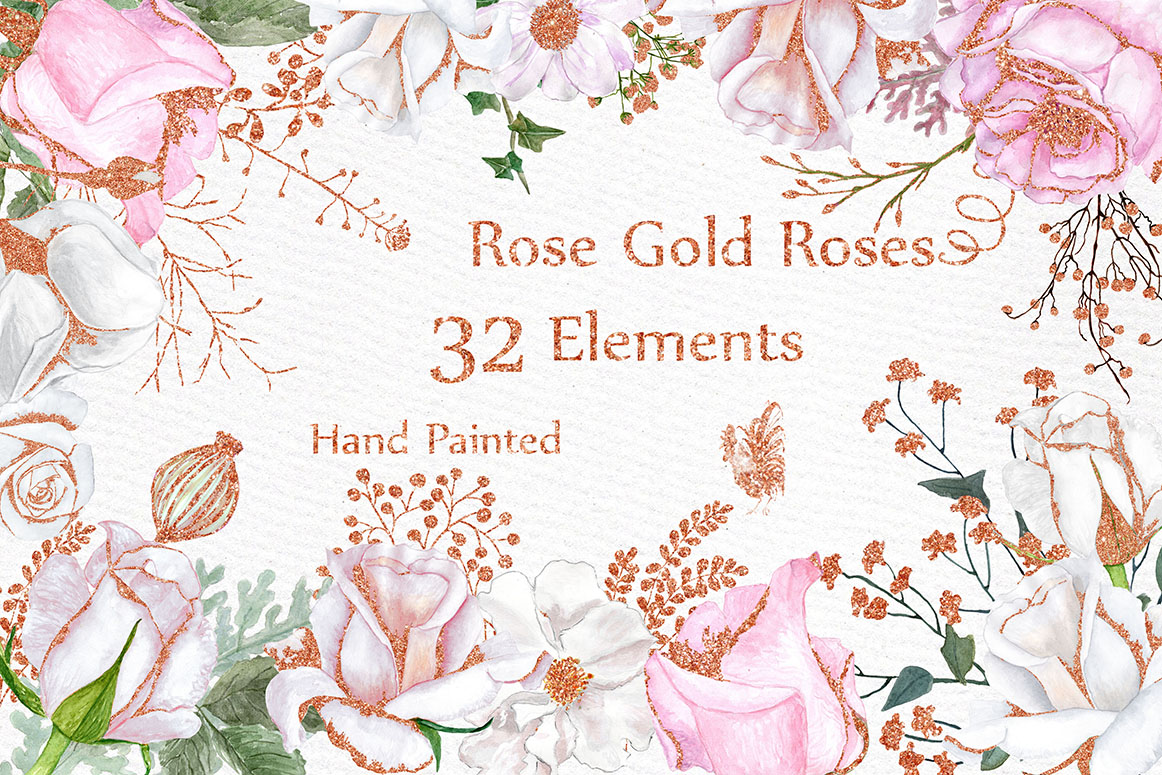 Rose Gold Watercolor Flowers Clipart FLORAL CLIPART White ... (1162 x 775 Pixel)