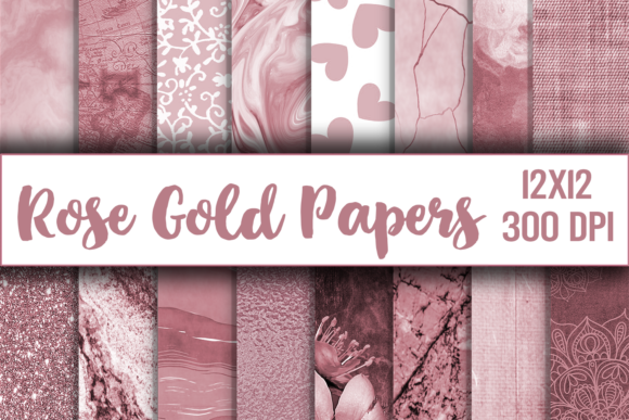 Rose Gold Digital Paper, Texture, Scrapbook Paper, Printable Graphic Backgrounds By digitalistdesigns - Image 1