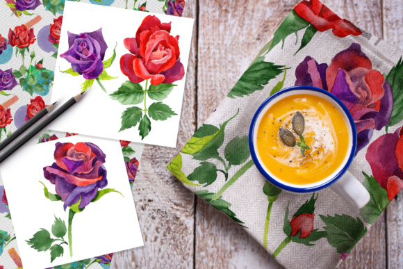 Print on Demand: Roses Watercolor PNG Set Graphic Illustrations By MyStocks - Image 6