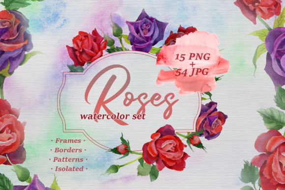 Print on Demand: Roses Watercolor Set Graphic Illustrations By MyStocks