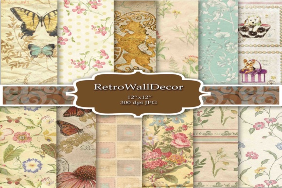 Print on Demand: Rustic Paper Digital Graphic Backgrounds By retrowalldecor