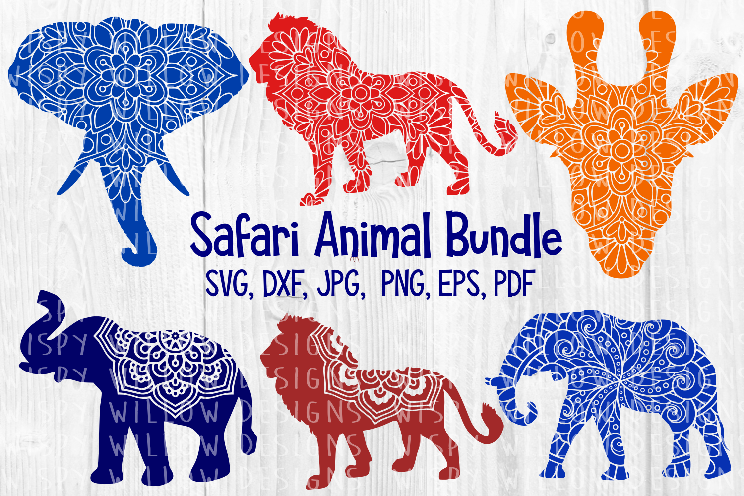Download Free Safari Mandala Animal Bundle Lion Giraffe Elephant Cut File for Cricut Explore, Silhouette and other cutting machines.