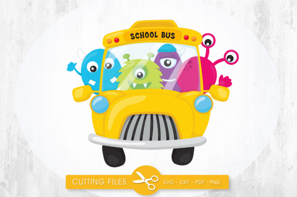 School Bus Monsters Graphic Crafts By PrettyCuttables
