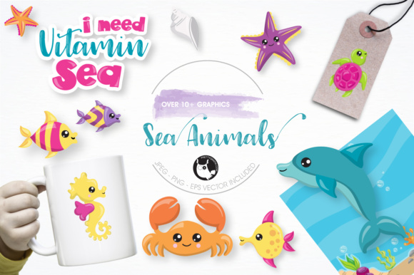 Print on Demand: Sea Animals Graphics and Illustrations Graphic Illustrations By Prettygrafik