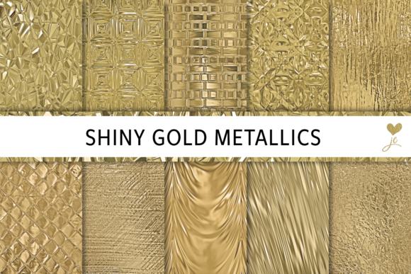 Print on Demand: Shiny Gold Metallics Graphic Textures By JulieCampbellDesigns