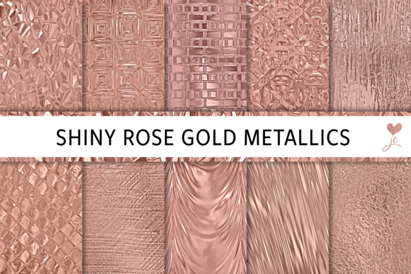 Print on Demand: Shiny Rose Gold Metallics Graphic Textures By JulieCampbellDesigns