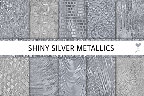 Print on Demand: Shiny Silver Metallics Graphic Textures By JulieCampbellDesigns