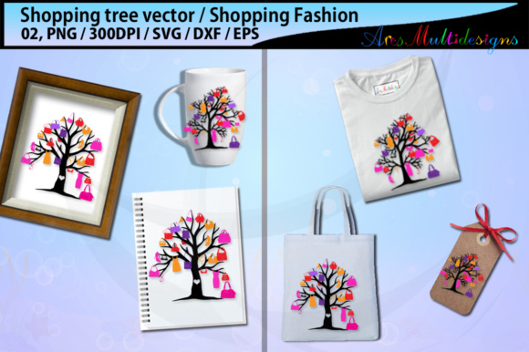 Print on Demand: Shopping Bag Tree Silhouette Vector SVG Graphic Illustrations By Arcs Multidesigns - Image 2