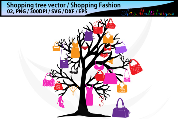 Print on Demand: Shopping Bag Tree Silhouette Vector SVG Graphic Illustrations By Arcs Multidesigns - Image 3