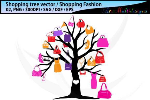 Print on Demand: Shopping Bag Tree Silhouette Vector SVG Graphic Illustrations By Arcs Multidesigns - Image 4