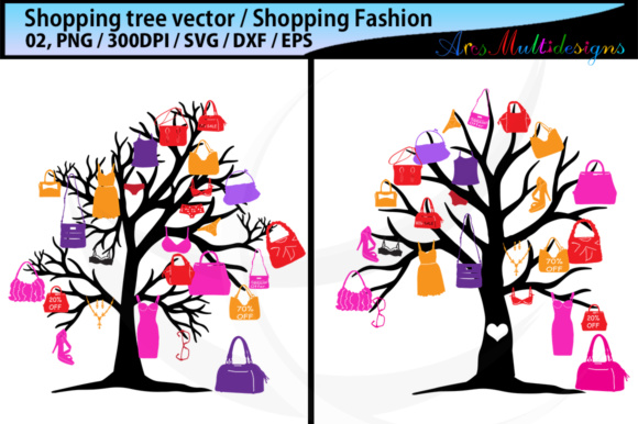 Download Free Shopping Bag Tree Silhouette Vector Svg Graphic By Arcs for Cricut Explore, Silhouette and other cutting machines.