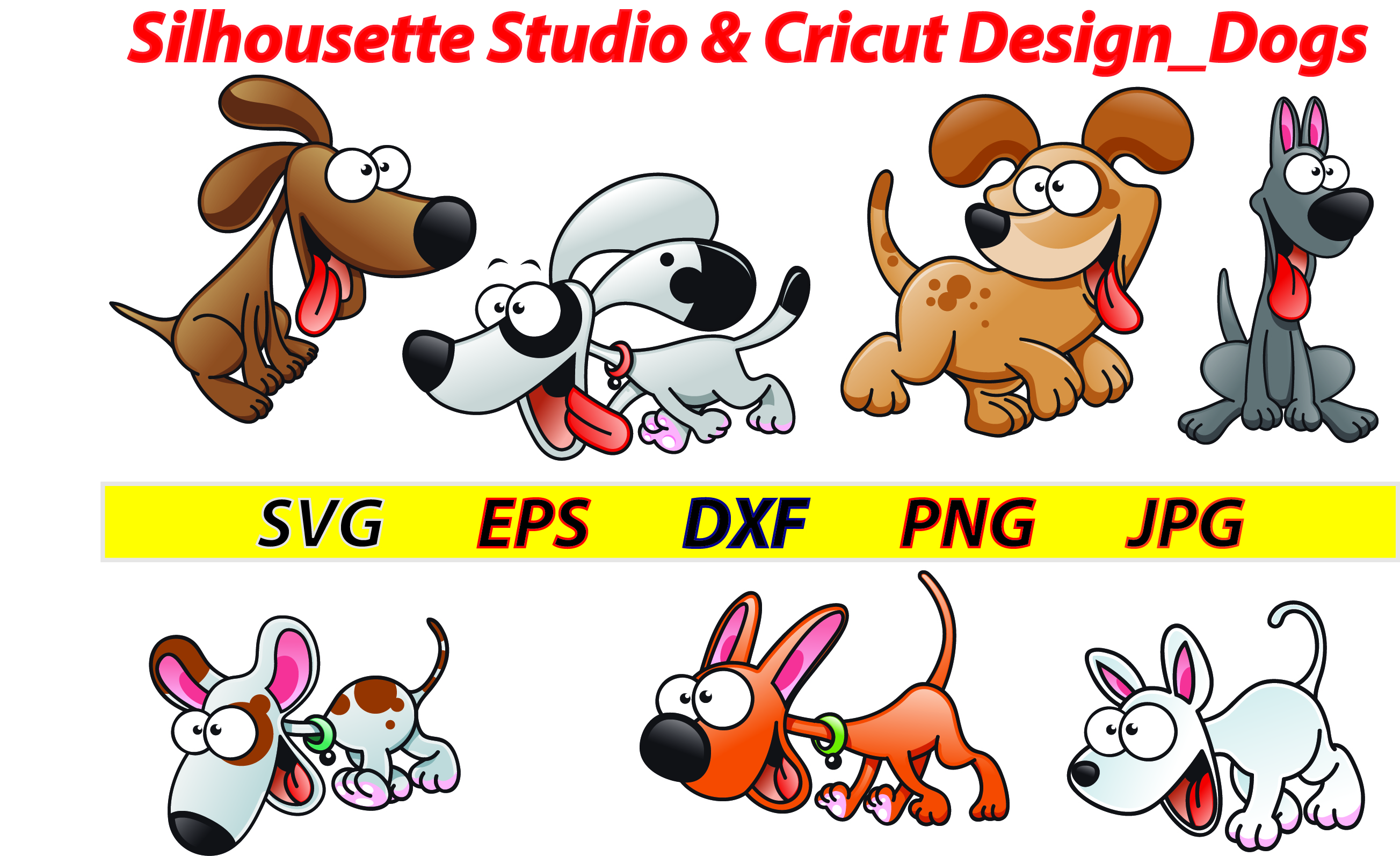Download Free Silhousette Studio Cricut Design Dogs Svg Dxf Png Eps Jpg for Cricut Explore, Silhouette and other cutting machines.