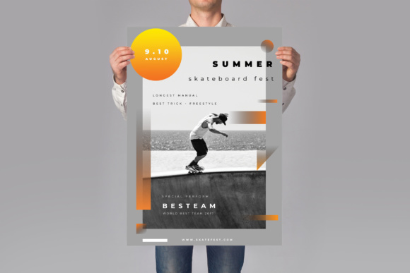 SkateBoard Event Flyer Graphic Print Templates By TMint