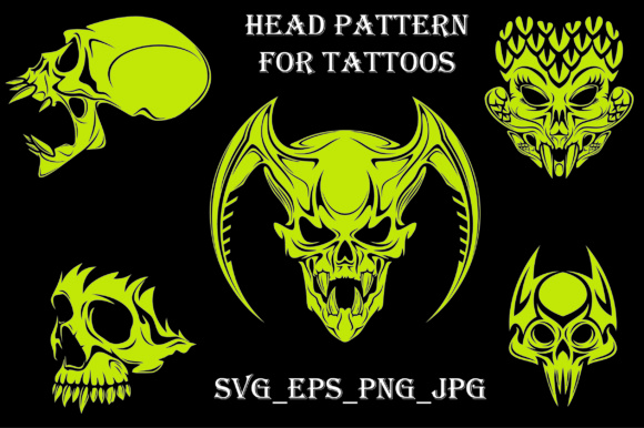 Skull Head Pattern for Tattoos Graphic Graphic Templates By Best_Store