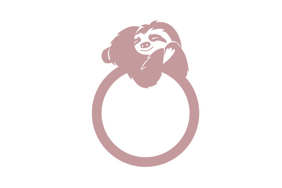 Sloth Relaxing On Circle Monogram Frame Svg Cut File By Creative