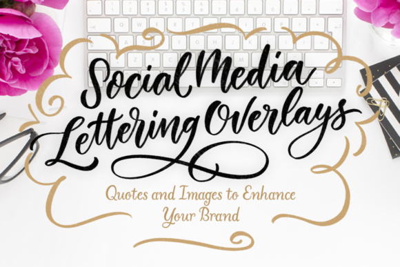 Social Media Lettering Overlays Graphic Web Elements By Laura Bolter Design