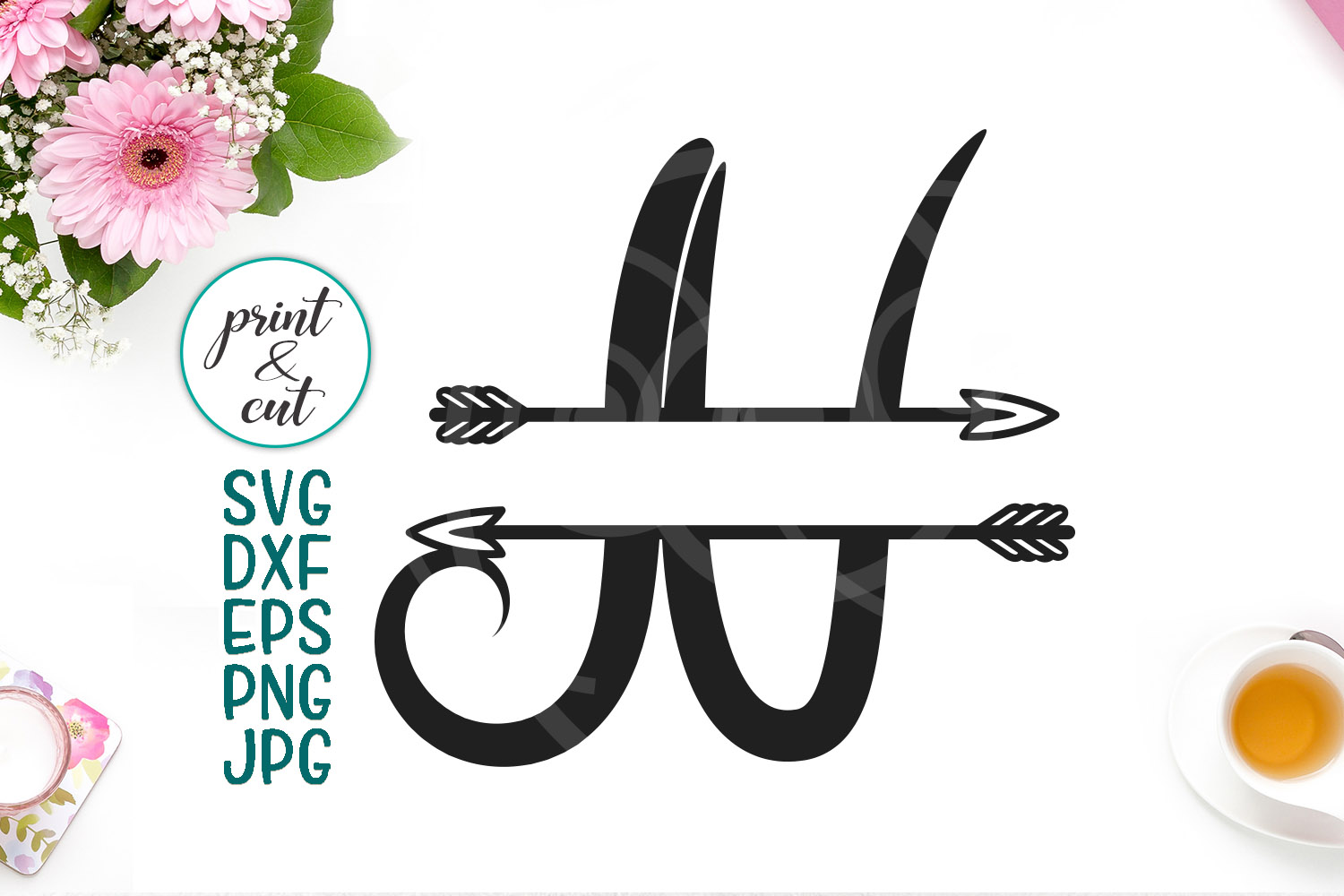 Download Free Split Monogram Font N Graphic By Cornelia Creative Fabrica for Cricut Explore, Silhouette and other cutting machines.